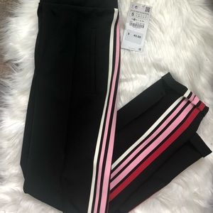 Zara basics nwt black track pant with stripes
